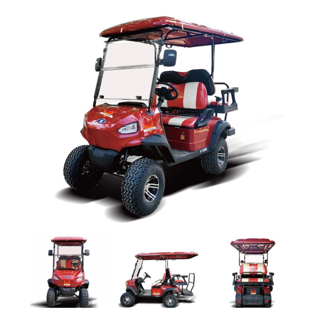 red cart with logo